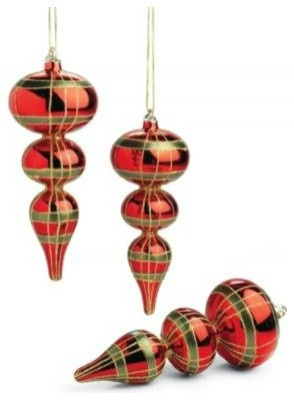 Christmas Plaid Glass Finial Ornaments - $39.00 »