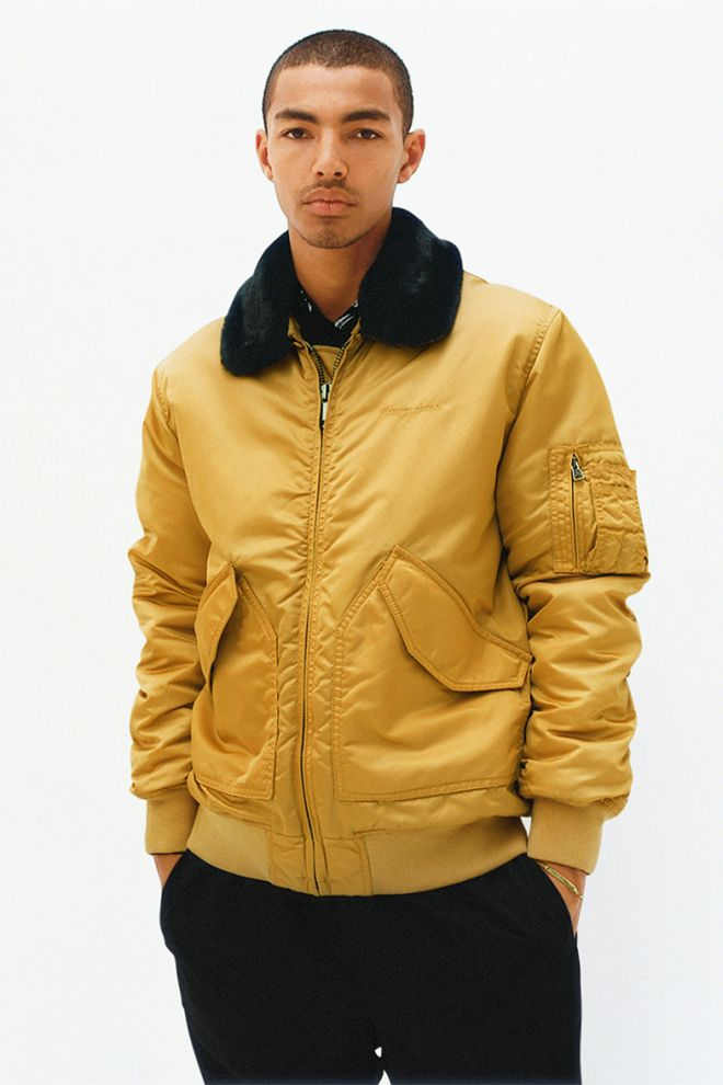 JACKET. The mustard bomber jacket from SUPREME Fall/ Winter 2015 lookbook.