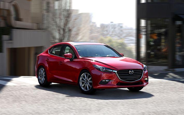 Descargar fondos de pantalla Mazda 3, 2017, exterior, Sedán, color rojo Mazda 3, los coches japoneses, Mazda
