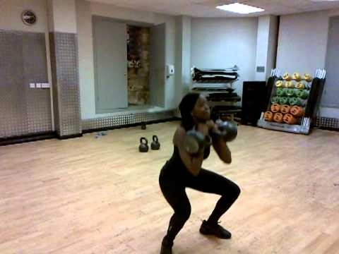 2 x 20kg Kettlebell See-Saw Presses and squats.