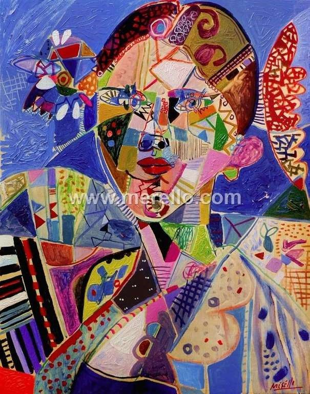 Pintores-espanoles. Actuales-contemporaneos.-merello.-blue spanish woman (100x81 cm) mix media on canvas
