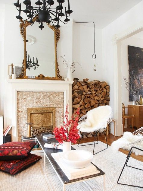 xxSpaces, Mirrors, Living Rooms, Logs, Chairs, Fireplaces, Livingroom, Floors Pillows, Black