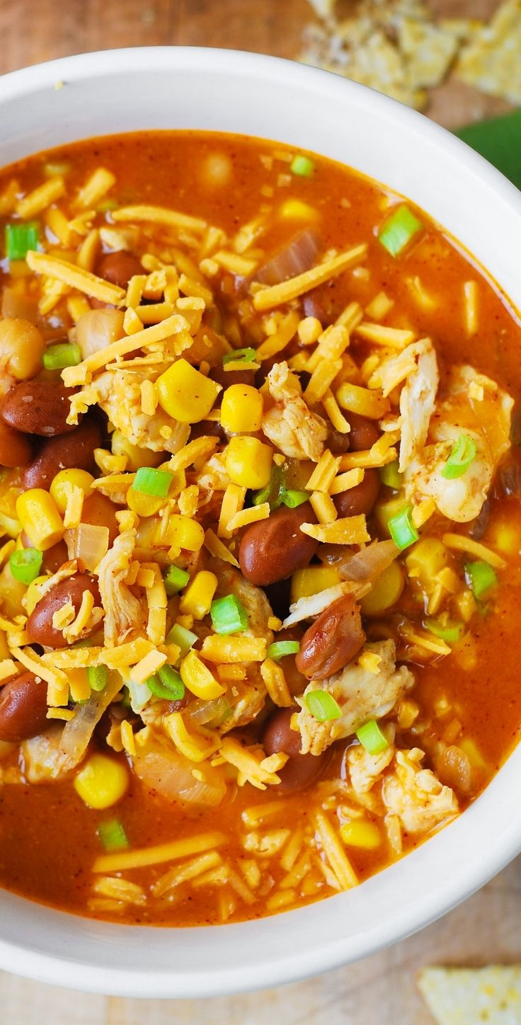 White Chicken Chili with Pinto Beans, Chickpeas, and Corn. gluten free recipe.