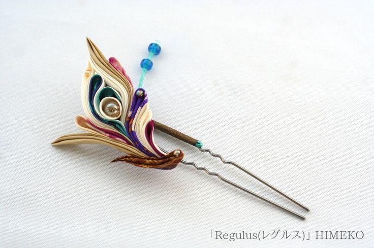 つまみ細工かんざし「Regulus(レグルス)」/Kanzashi● silk art HIMEKO facebookpage https://ja-jp.facebook.com/himekosilkart ● http://www.a-yarn.com/