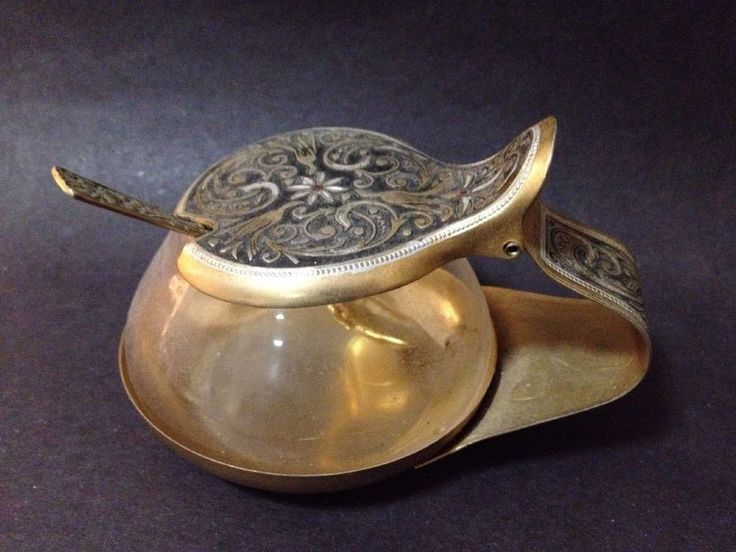 Estate Find - Vintage Brass? / Gold Plated Tin? Sugar Bowl w/ Spoon