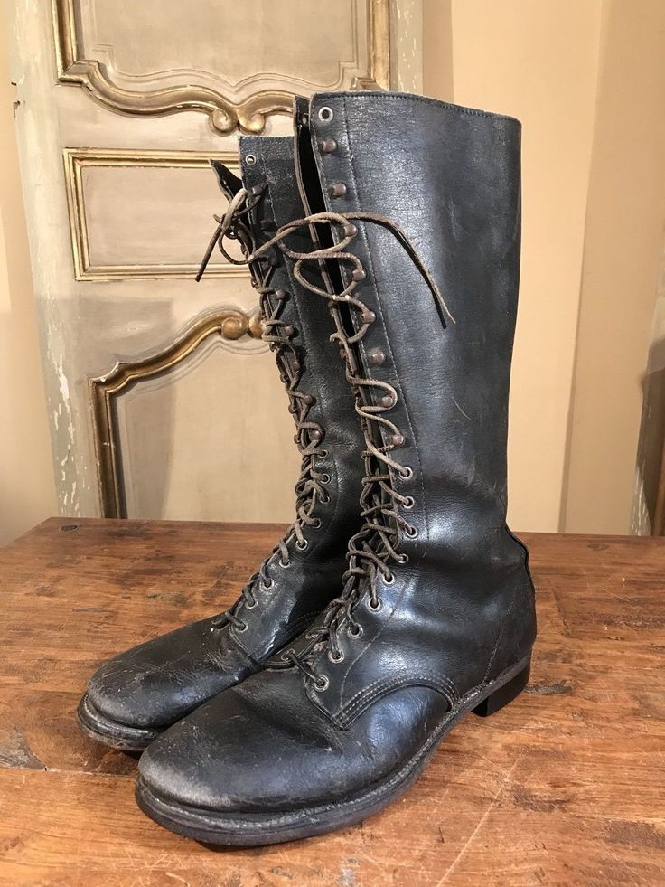 """SUPER RARE WWII ARMY CATS PAW TALL BOOTS LEATHER BLACK MEN'S SIZE MARKED 12 US. HEEL TO TOE 12 1/4"""". 18 MEASUREMENTS ARE. 