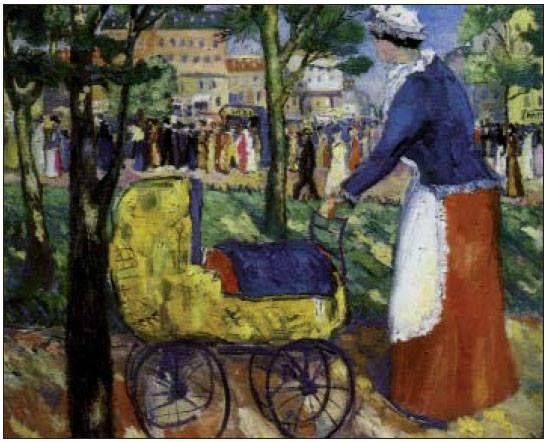 Bulevar. Malevich. 1903.  Bulevar, obra de Malevich. Antes de dar el salto hacia la abstracción y el suprematismo, Vladimir Malevich estuvo influido poderosamente por el impresionismo francés. Pero, a diferencia de ellos, su punto central de atracción no fue la luz, sino el color. De este modo, en sus cuadros se esmeró en representar parques y jardines, llenos de colores insólitos, y por los cuales pululan figuras humanas sin rostro, anónimas y distanciadas. La de esta niñera que pasea a un…