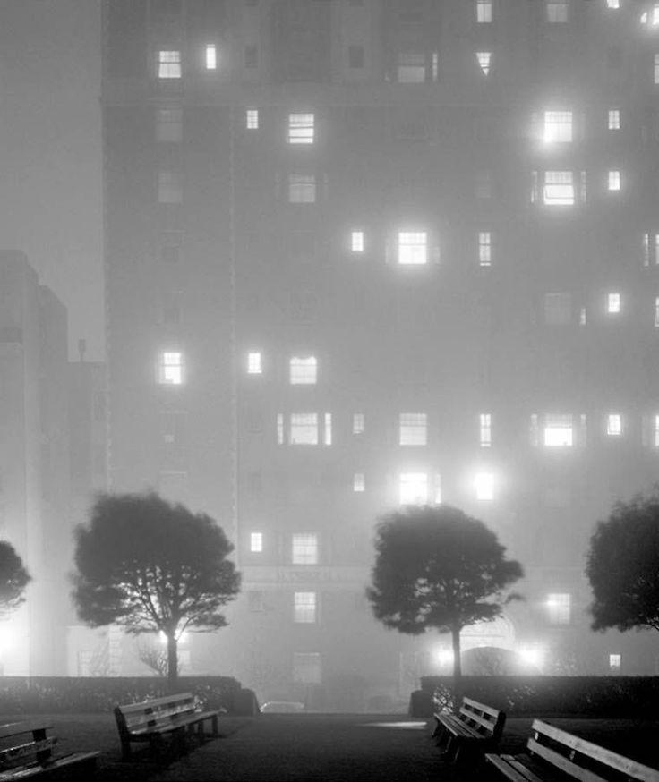 Foggy Night, Huntington Hotel, San Francisco, Photo by Fred Lyon, 1958