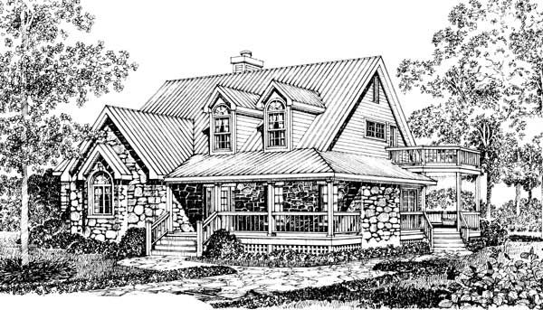 Country Stone Cottage Home Plan