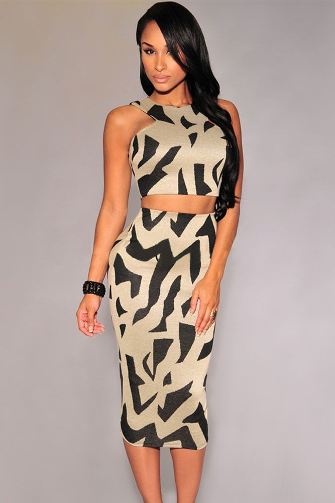 Gray Irregular Print Racer Back Skirt Set