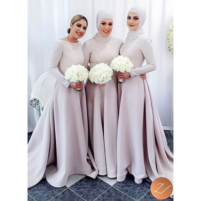 Simple hijab styling, on Eman's elegant bridesmaids. X #veiledbyzara Makeup: @susieayoubmakeup Dresses: @veronicaalkhourycouture
