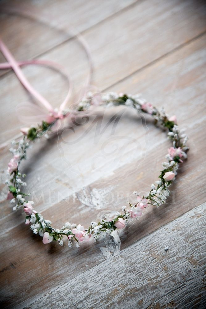 Handmade  white and pink  flower wreath