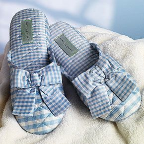 Silk Gingham Slippers