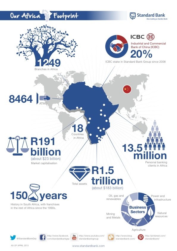 Standard Bank's Africa footprint - The Standard Bank of South Africa Limited is one of South Africa's largest financial services groups. It operates in 30 countries around the world, including 17 in Africa