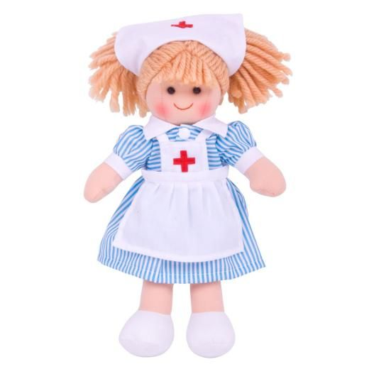 Bigjigs Dolls - Rag Doll Nancy Nurse - 25cm