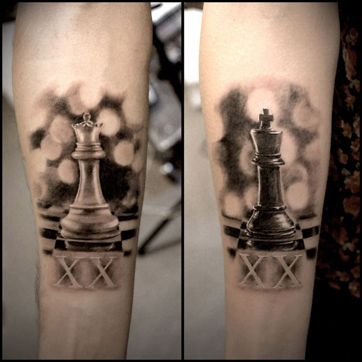 King & Queen Chess Pieces Tattoo - http://giantfreakintattoo.com/king-queen-chess-pieces-tattoo/