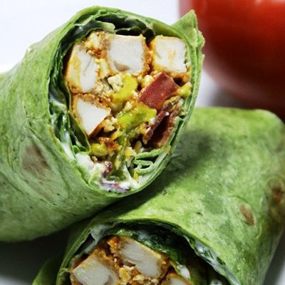 BLT Buffalo Chicken Wrap – make your brown bag lunch the envy of the office with these garden fresh wraps with the bold flavors of buffalo chicken. Also perfect for your picnics and tailgating parties. Step-by-step photos.