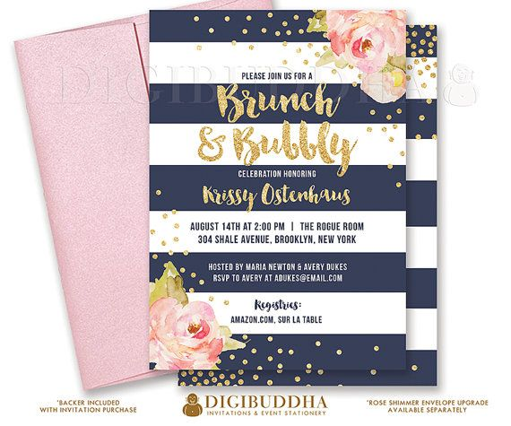 Navy & gold Brunch & Bubbly bridal shower invitations with boho chic pink watercolor peonies and gold glitter confetti dots. Rose shimmer envelopes also available at digibuddha.com