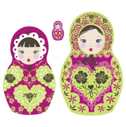 Russian Dolls Wall Decals-I like the details and color combo