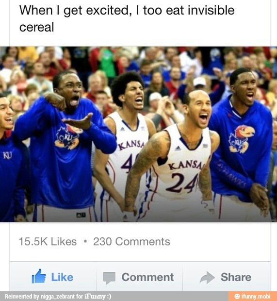 When I get excited, I too eat invisible cereal.