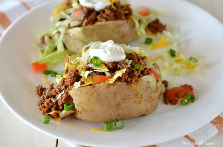 Taco Potatoes are crazy good. I love everything about this fun and delicious meal. Taco potatoes take ordinary baked potatoes to new heights! Seasoned ground beef, cheese, lettuce, sou...