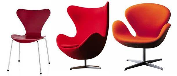 CADEIRAS7 design de cadeiras  vermelha poltrona Arne Jacobsen, mais conhecido pelas cadeiras que projetou e que estão entre os clássicos do design do século XX, projetou o Formiga (Modelo Nº 3100: 1951-52). Em 1955, projetou um modelo semelhante para a Série 7 (Modelo nº 3107) e em 1958, as cadeiras The Egg e Swan.