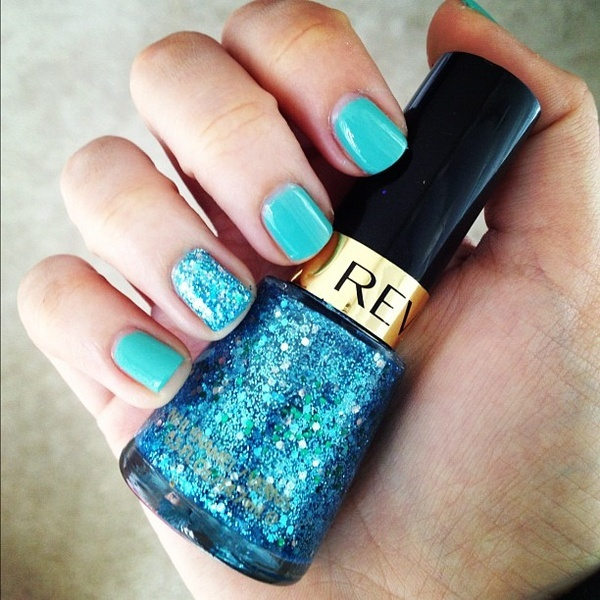 Just painted my nails! L Oreal Club Prive   Revlon Blue Mosaic for a little spar: Blue Mosaics, Nails Art, Accent Nails, Rings Fingers, Wall Decal, Club Prive, Revlon Blue, Blue Glitter, Blue Nails