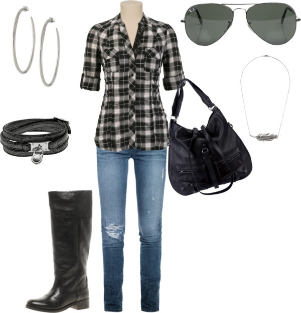 Leather and flannel.