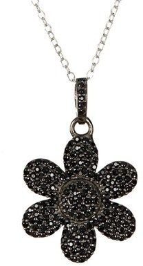 ADORNIA Black Spinel And Sterling Silver Flower Power Pendant Necklace.