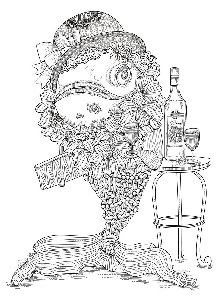 fish humour adult colouring page