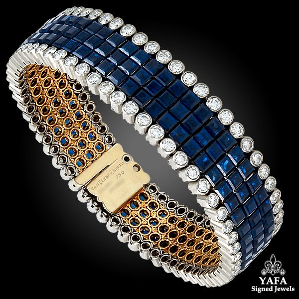 Design as three rows of calibre-cut sapphires, bordered by circular-cut diamonds, mounted in platinum and 18k gold,with French assay marks, signed Van Cleef & Arpels.