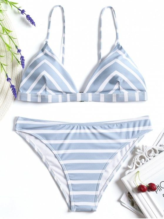 6d053a2a5f3cf Minimal coverage striped bathing suit featuring adjustable shoulder straps  triangle-shaped bikini top and hipster swim bottoms, padded. #Zaful # Swimwear # ...
