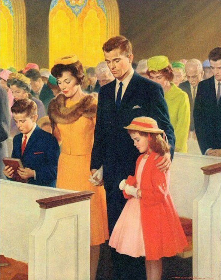 Vintage Shaw Barton A Family In Prayer Church Calendar Art Print