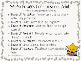 Free printable poster with the Seven Powers of Conscious Discipline...super cute and oh so useful as you integrate Conscious Discipline into your home or classroom. #iheartcd