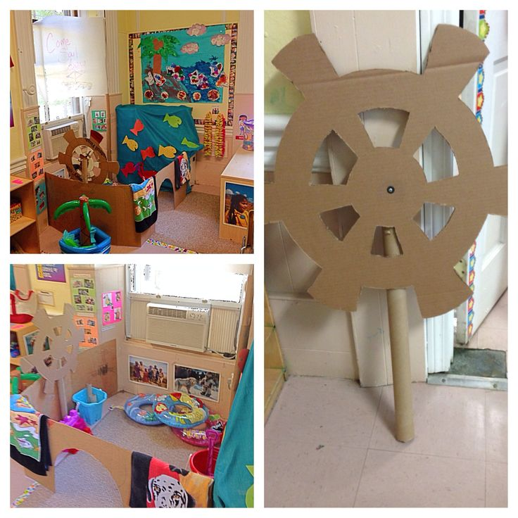Sail boat / pirate ship in dramatic play  Ship wheel: cardboard cut out, wrapping paper tube (and Knut bolt and washer to make it spin)  Sail: wrapping paper and tubes large roll paper  Inflatable tubes, pails and shovels, fish and fishing poles, towels, leis and paper towel roll binoculars/telescopes