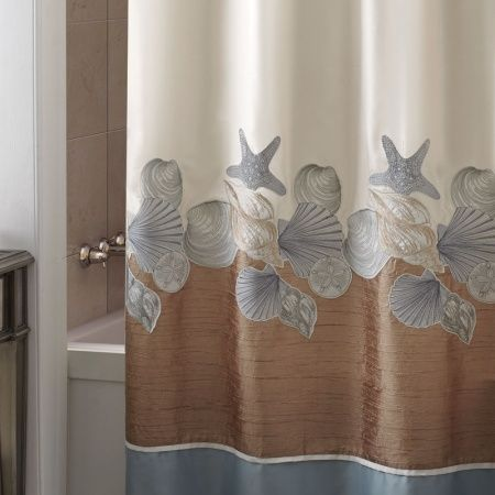 A Strikingly One Of Kind Coastal Look Is Achieved With This Beach Themed Shower Curtain Shells Ashore Features An Elaborate Laser Cut Design Loosely