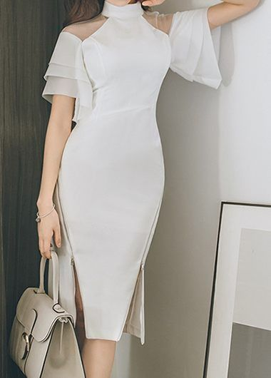 Split Neck Asymmetric Hem White Bardot Dress on sale only US$34.90 now, buy cheap Split Neck Asymmetric Hem White Bardot Dress at liligal.com