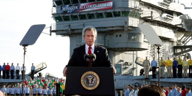 "'Mission Accomplished' - What's Been The Cost Since Then? On May 1, 2003, President George W. Bush delivered a now-infamous speech aboard an aircraft carrier in which he declared that ""major combat operations in Iraq have ended"" and that ""in the battle of Iraq, the United States and our allies have prevailed."" That speech, given less than two months after the U.S. initiated combat operations in Iraq, has been derisively labeled ""Mission Accomplished""..."