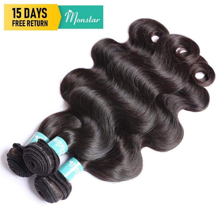 Monstar Unprocessed Brazilian Remy Hair Weave Weft 1/3/4 Bundle Hu…