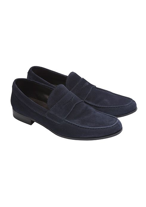 Blue suede calfskin moccasins for Jay Osgerby' s look #ledizione #200steps #canali1934