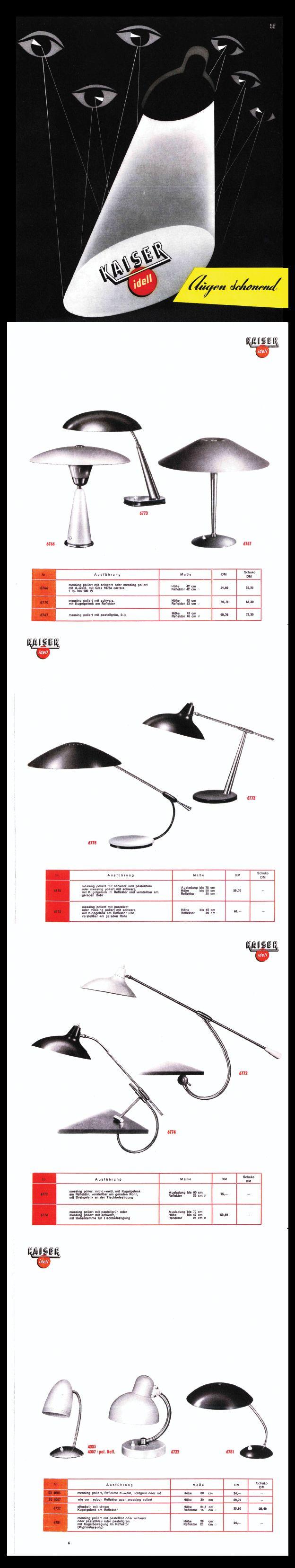 Rare Kaiser & Co. Work Lamp Catalogue 1955 - #KaiserIdell #Kaiser_Idell #ChristianDell #Bauhaus #Modernism #Modernist #Molecula #arbeitslampen
