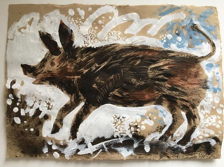 'Pig in Snow' by Mark Hearld for the redisplay of the British Folk Art Collection at Compton Verney. Hearld is both curating the redisplay and producing new works in response to the collection, which opens to the public on 17 March 2018.