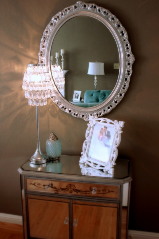Spray Painting Mirrors.   Site also has a pretty silverleaf dresser
