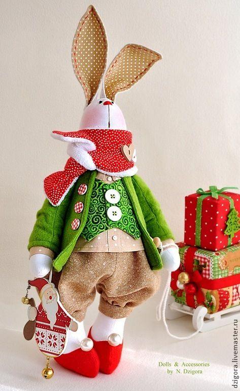 Купить Белый рождественский кролик - ярко-красный, игрушка заяц, игрушка зайка, игрушка зайчик
