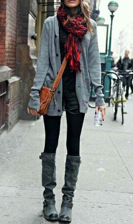 scarf. boots. cardigan.
