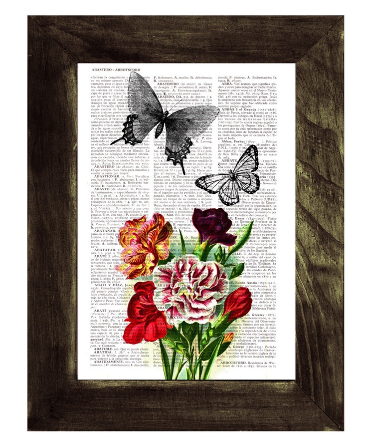 Butterfly collage Book print art - Butterflies  and Carnations collage - Upcycled book page Art Dictionary book print. $7.99, via Etsy.
