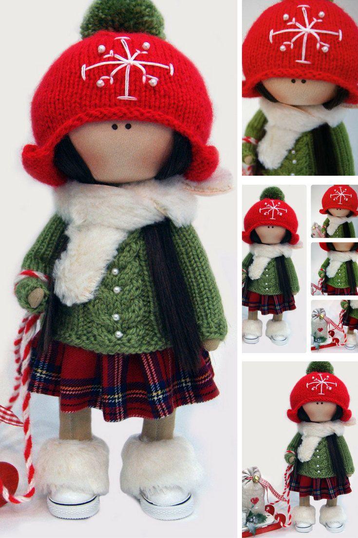 Winter doll Handmade doll Red doll Tilda doll Interior doll Textile doll Cloth doll Nursery doll Fabric doll Decor doll Rag doll by Ksenia