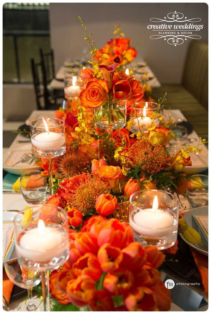 Think beyond the vase by upcycling spice tins to display yellow, orange, or red wildflowers. Use two vintage containers for a small area, or style several in various heights to fill the length of a long table.