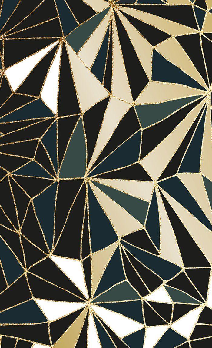 New Art Deco Geometric Pattern Emerald Green And Gold Window