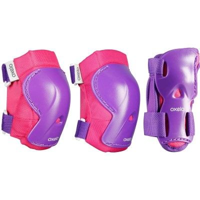 GLISSE URBAINE Trottinette, skate, roller... - Set 3 protections PLAY rose OXELO - Rollers